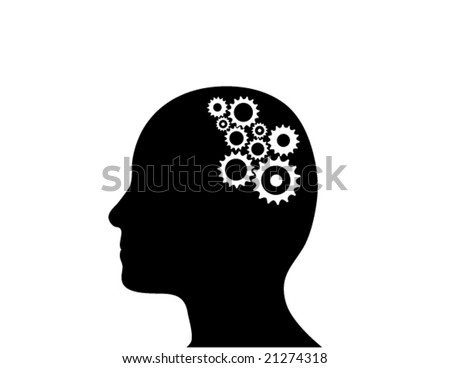 Cogs working in the brain. (Vector)
