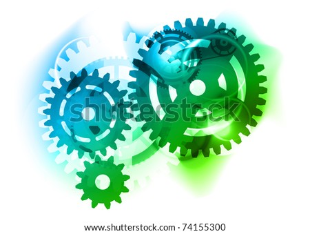 Cogwheel as blue and green background