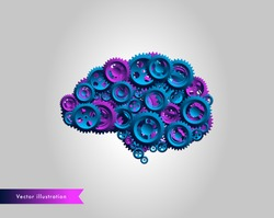 Cogwheel brain machine - Human brain illustration made of gears and cogwheels in blue and purple. Brain functions, creativity and intellect concept. Vector format.