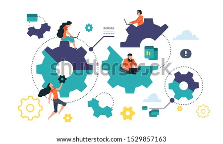 Cogwheel cooperation concept. Flat gear business mechanism, people management and organization. Vector illustrations integration mechanism business communication into people lives