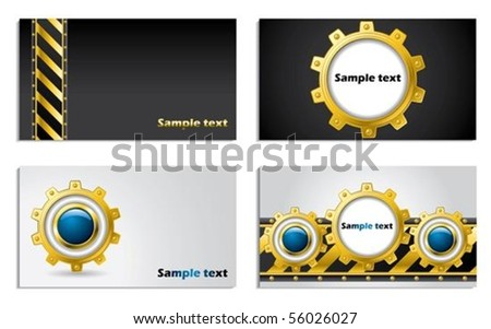 Cogwheel design business card set