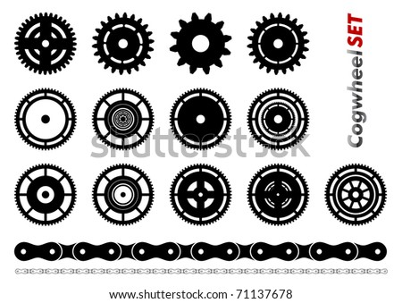 Cogwheel set isolated on the white