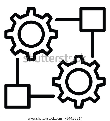 Cogwheels attached with empty block representing concept of resources allocation line icon