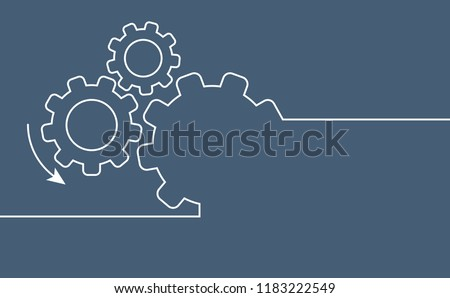 Cogwheels chaos brain. Cogwheel, gear mechanism settings tools. Fun drawing vector gears person icon or sign. Service cog brain pattern or template banner. Think big ideas.