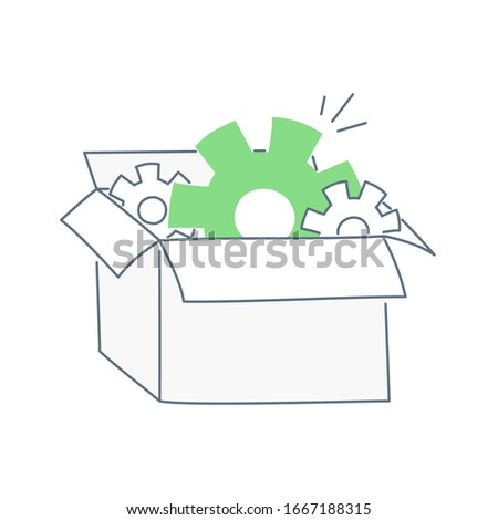 Cogwheels in the open box. Toolbox, settings gear, packaging box, ready solution, spare parts, website template concept. Flat line clean vector icon illustration on white.