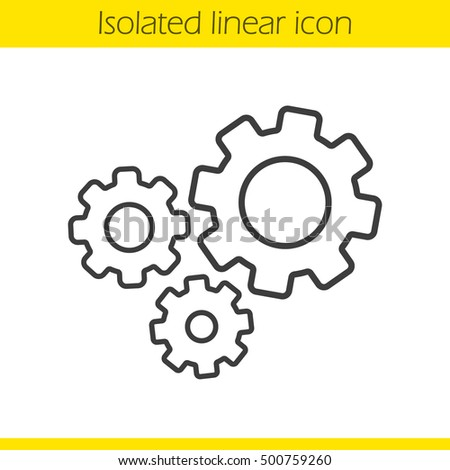 Cogwheels linear icon. Gears thin line illustration. Cogs contour symbol. Vector isolated outline drawing