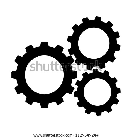 Cogwheels or gears icon. Connected cogwheels in working mechanism. Vector Illustration