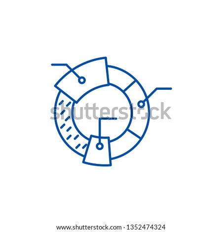 Cohort analysis line icon concept. Cohort analysis flat  vector symbol, sign, outline illustration. Сток-фото ©