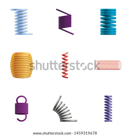 Coil icon set. Cartoon set of 9 coil vector icons for web design isolated on white background