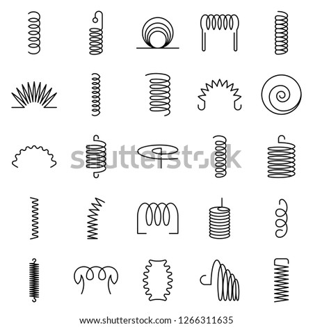 Coil icon set. Outline set of coil vector icons for web design isolated on white background