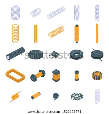 Coil icons set. Isometric set of coil vector icons for web design isolated on white background