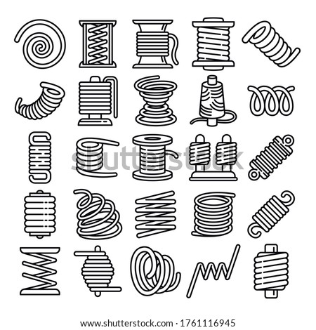 Coil icons set. Outline set of coil vector icons for web design isolated on white background ストックフォト ©