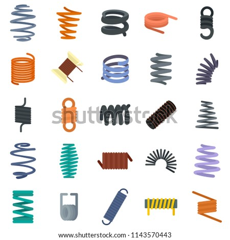 Coil spring cable icons set. Flat illustration of 25 coil spring cable vector icons isolated on white