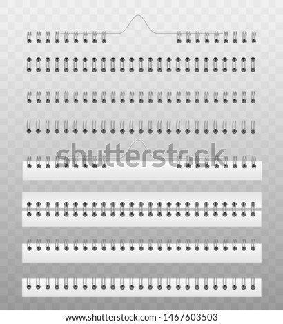 Coil spring for fastening calendar or notebook papers - realistic vector illustration set of mockup templates. Book spine made out of metallic or plastic wire spiral binding system.