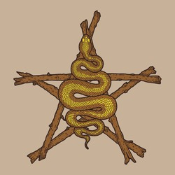Coiled snake over sticks pentagram detailed illustration. Tribal occult brown serpent isolated. Vector magic witchcraft design.