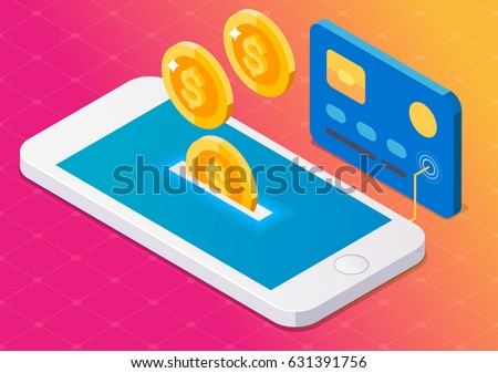 Coin drop in smartphone and in your card. Earn money. Isometric style. Gradient background.
