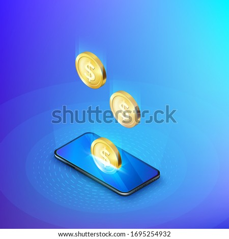 Coin drops into mobile phone isometric banner. Online banking or payment service. Deposit replenishment and saving money. Vector illustration Photo stock ©