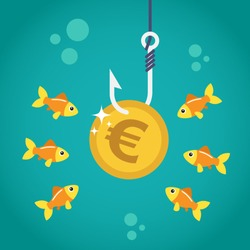 Coin euro on fishing hook and hungry fishes in temptation to catch a dollar. Money trap concept. Vector illustration