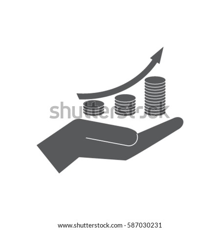 Coin grouth diagram on the hand icon, investment vector illustration
