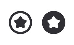 Coin icon. Bank payment symbol. Finance symbol. Currency symbol. Cash icon. Pay icon. Coin with the star. Graphic user interface design element. Game purchases. Game currency. Game coin. Star icon.