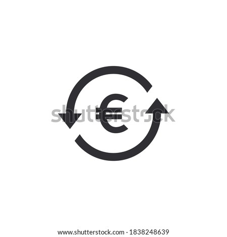 Coin icon. Euro coin. Money transfer. Bank payment symbol. Euro sign. Finance symbol. Currency symbol. Euro currency. Cash icon. Euro cent. Currency exchange. Back refund investment. European currency
