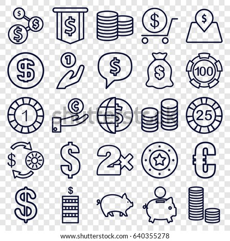 Coin icons set. set of 25 coin outline icons such as pig, casino chip and money, 1 casino chip, dollar, money sack, lot price, euro #640355278