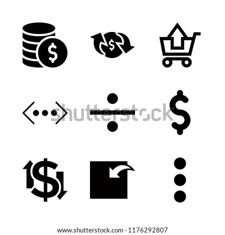 coin icons set with incoming, substracting of shopping cart and dollar symbol vector set