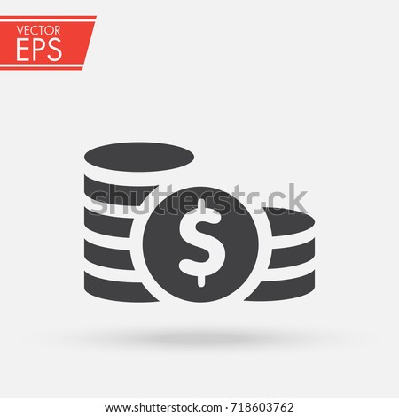 Coin money finance sign. Dollar coin currency stack icon. Bank payment symbol. Flat isolated illustration.
