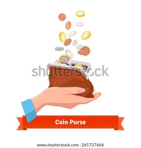 Coin rain to a purse in woman hand. Flat style vector illustration.