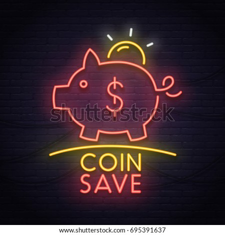coin save neon sign neon sign