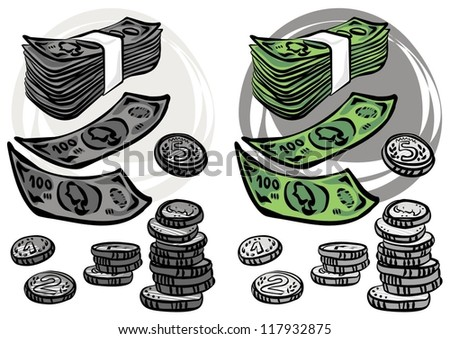 coins and paper money monochrome and colorful business/finance illustration