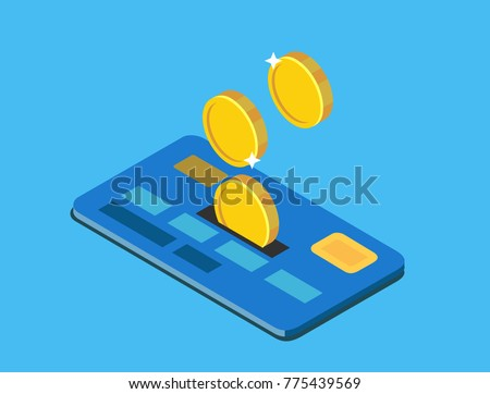 Coins discounted on credit card. Vector isometric