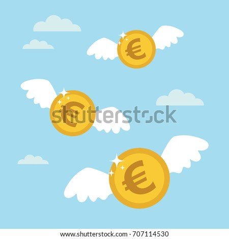 Coins euro with wings flying in the sky. Lost money concept. Vector illustration