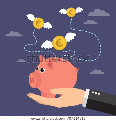 Coins euro with wings flying over piggy bank. Lost money concept. Vector illustration