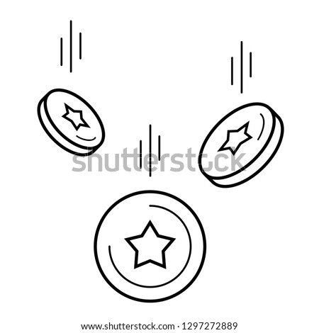 Coins falling down. Loyalty program and earning points. Bonuses. Vector outline icon isolated on white background.