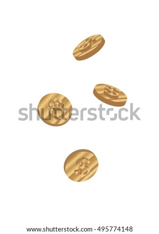 coins falling vector