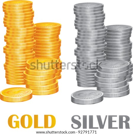 Coins gold and silver vector illustration