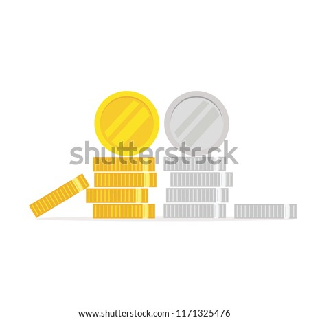 coins icon flat  coins pile
