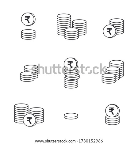Coins icon. Gold Rupee coins. Indian Rupee coin. Vector money symbol. Bank payment symbol. World economics. Finance symbol. Currency symbol. Set of outline money. Stack of coins. Coin icon. Cash icon.