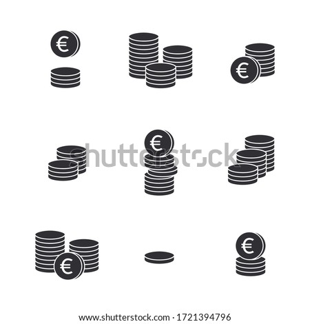 Coins icon. Set of money. Coins vector icon. Bank payment symbol. Euro sign. Euro coin. Finance symbol. Currency symbol. Euro currency. Cash icon. Euro cent. Currency exchange. Financial operations.