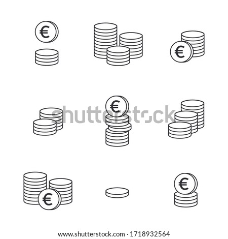 Coins icon. Set of outline money. Coins vector icon. Bank payment symbol. Euro sign. Euro coin. Golden coin. Finance. Currency symbol. Game coin. Wealth symbol. Success. Cash. Currency exchange.