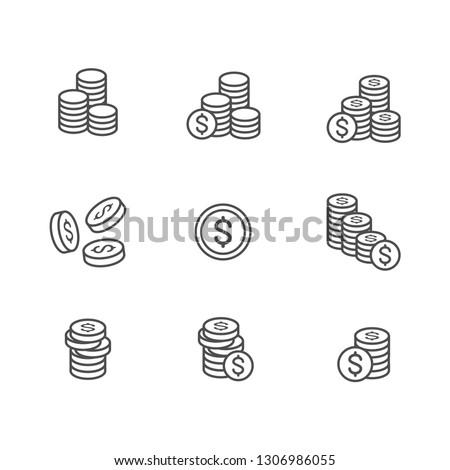 Coins icon set . Vector . EPS 10