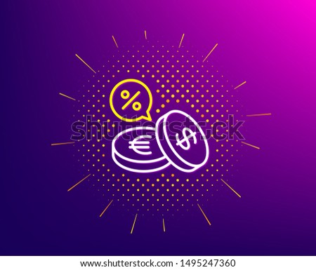 Coins money line icon. Halftone pattern. Banking currency sign. Euro and Dollar Cash symbols. Cashback service. Gradient background. Currency exchange line icon. Yellow halftone pattern. Vector