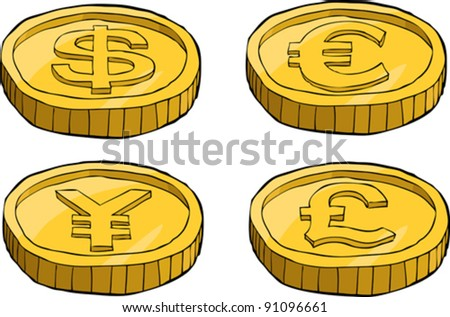Coins on a white background, vector illustration