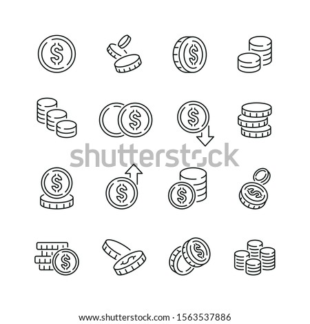 Coins related icons: thin vector icon set, black and white kit Foto stock ©