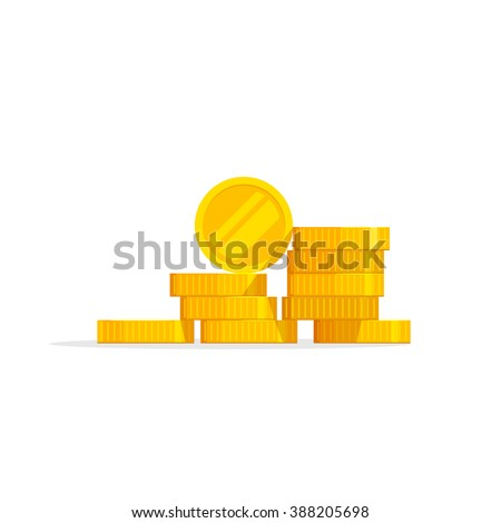Coins stack vector illustration, coins icon flat, coins pile, coins money, one golden coin standing on stacked gold coins modern design isolated on white background