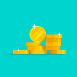 Coins stack vector illustration, flat coin money stacked icon flat, golden penny cash pile, treasure heap isolated on color background