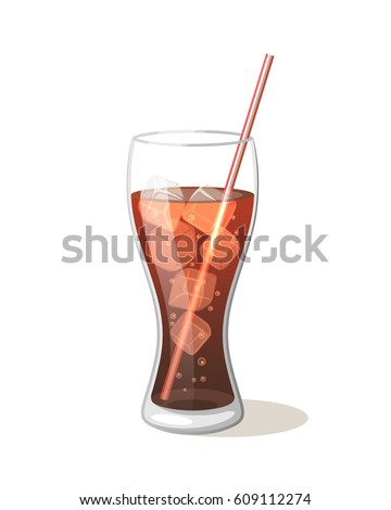 cola drink in a glass cup with