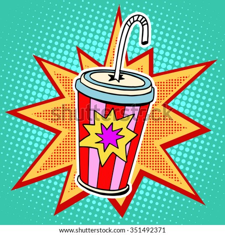 cola paper cup straw fast food