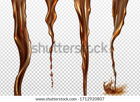 Cola splash. Vector realistic mockup of streams of black coffee, tea, whiskey or beer. Twisted flow of brown drink with splash and drops isolated on transparent background